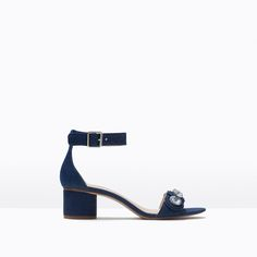 Image 1 of LOW-HEEL JEWELLED SANDALS from Zara