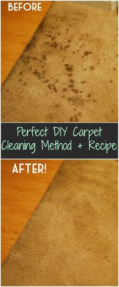 Perfect DIY Carpet Cleaning Method + Recipe= 2 parts water, 1 part vinegar and steam Iron.