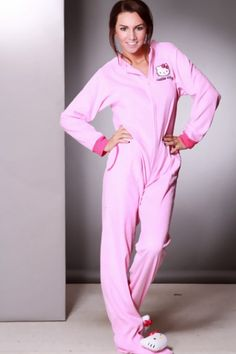 Pink Zip Up Long Sleeves Hello Kitty Onesies Outfit