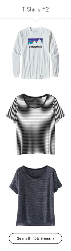 """T-Shirts #2"" by mmadss ❤ liked on Polyvore featuring patagonia, tops, t-shirts, shirts, t shirts, sleek stripes, striped shirt, horizontal stripe t shirt, t shirt and striped t shirt"
