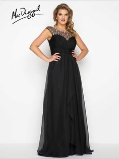Embellished Neckline Plus Size Prom Dress | Mac Duggal 65974F Embellished neckline with ruched chiffon bodice and overskirt with satin lining. Available in Black Multi and Mint.