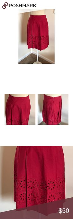 """⭐️Ann Taylor Loft red skirt 00P Cherry red embroidered skirt from Ann Taylor Loft size 00Petite. Side zip, lined, two front pockets. Amazing condition. Waist 13"""", waist to hem 21"""". Ann Taylor Skirts"""