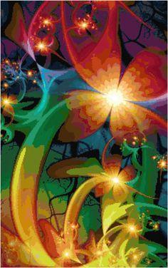 Rainbow Flower Cross Stitch Pattern Instant by KustomCrossStitch