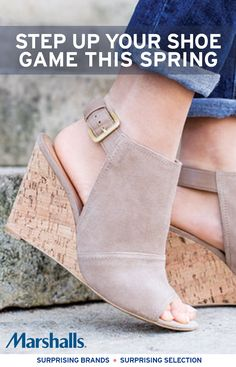 Searching for a surprising spring shoe to pair with cute denim cuffs? Keep your street style open ended and show off a pretty pedicure with these strappy suede wedges.   Cut-out peep-toe booties $39.99 Compare At $64