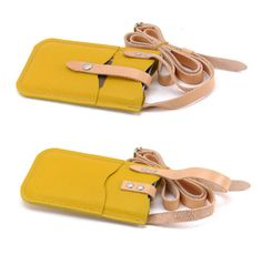 Snug Fitting iPhone 6 PLUS Crossbody Yellow Leather Case by FleurdeLeather