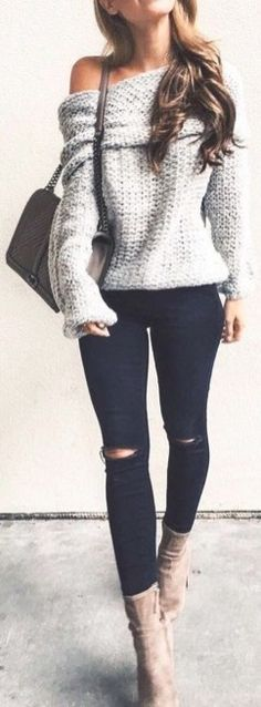 Cute Winter Outfit Ideas for School for Teens Off the Shoulder Chunky Oversized Sweater - Beige Suede Booties - www.Poshiroo.com