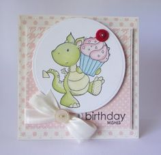 """A card I created using the Wild Rose Studio stamp """"Fergus with a Cupcake""""."""