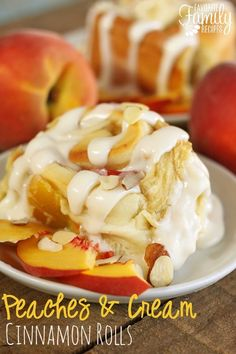 Peaches and Cream Cinnamon Rolls - Peaches and Cream Cinnamon Rolls- Oh my gosh, these were incredible. Ooey Gooey Cinnamon Rolls combined with fresh peaches and homemade almond cream cheese frosting... perfection on a plate.