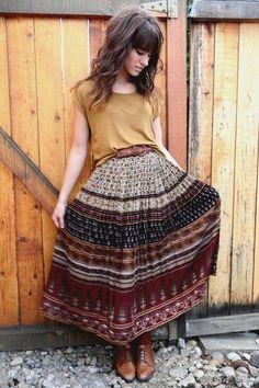 #fall #weather #fashion #boho #brown #boots #patterned #skirt #belt #yellow #top #womens #style #hippie