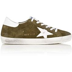Golden Goose Women's Women's Superstar Suede Sneakers ($460) ❤ liked on Polyvore featuring shoes, sneakers, gold metallic sneakers, wedge sneakers, lace up wedge sneakers, suede wedge shoes and low top wedge sneakers