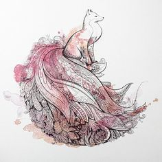 This is my favourite drawing! Watercolour fox with ornamental peacock tail