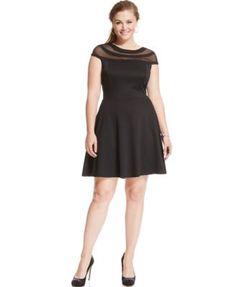 Trixxi Plus Size Cap-Sleeve Illusion Flare Dress | macys.com