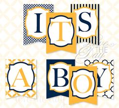 Nautical Baby Shower Printable Party It's A Boy Banner (instant Download) By…