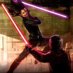Jaina Solo fights her twin brother Jacen Solo, aka Darth Caedus, a Dark Lord of The Sith