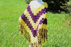 Purple and Gold Kids Crochet Poncho  Girls by OneInEssence on Etsy