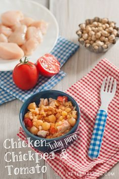 Chicken, Chickpea & Tomato puree from Little Mashies reusable food pouches. For free recipe ebook go to Little Mashies website or Amazon