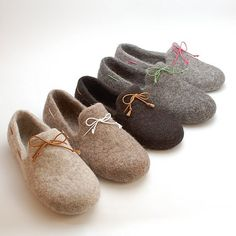 Felt slipper loafers set of 2 pairs  handmade by WoolenClogs, $140.00