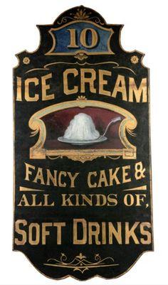 Early Original Over Cream / Soft Drinks Trade Sign