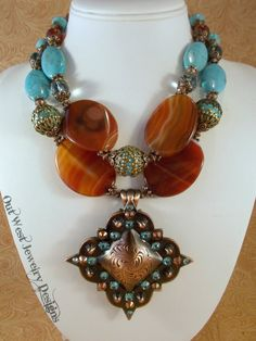 Western Rodeo Cowgirl Necklace Set  Chunky Orange Agate by Outwestjewelry