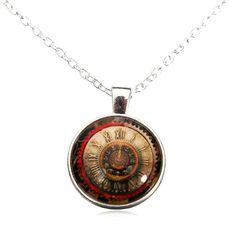 Sale 15% (2.27$) - Vintage Punk Steam Cabochon Glass Chain Pendant Necklace