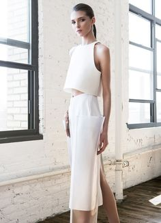 LTVs, Kay Frank, Spring lancia trendvisions, ltvs Xtine this would be amazing on you. maybe not in ivory haha Runway Fashion, Fashion Beauty, Fashion Looks, Fashion Outfits, Womens Fashion, Minimal Fashion, White Fashion, Anastasia, Geometric Fashion