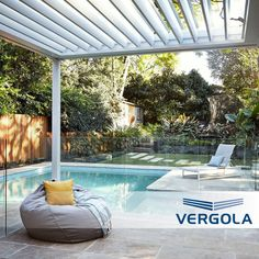 The extra floor space under a Vergola is like adding another room to a home. The sturdy louvres create an environment that is protected from the sun and rain when you need it, yet open to the fresh air and sunlight when required. Glass Pool Fencing, Built In Bbq, Shade Structure, Roofing Systems, Backyard Makeover, Outdoor Living Areas, Terrace Garden, Garden Styles, The Fresh