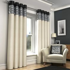 """RING TOP FULLY LINED PAIR EYELET READY MADE CURTAINS RED BLACK SILVER CREAM BLUE (Black and Cream, 66"""" x 72"""" (168 x 183cm)) Tony's Textiles http://www.amazon.co.uk/dp/B00G4B2WRS/ref=cm_sw_r_pi_dp_NmpKvb1CPDNHA"""