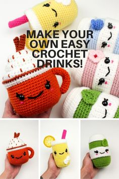 Make your very own cute seasonal drink crochet patterns! Get started with amigurumi with all these easy crochet patterns for your favorite treats and drinks. Create your own cute hobby with this easy and unique crochet pattern. Cute and kawaii, these basic and beginner friendly DIY projects are perfect for any crocheter that loves free crochet patterns. This stuffed animals are matcha, pumpkin spice latte, and lemonade. Stuffed animal plushie that can be made quickly and simply.