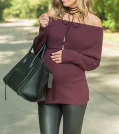 Loving off the shoulder, even for fall  this sweater (under $70) comes in 3 colors + the oversized fit makes it perfect with a bump  click the link in my profile to shop the look or see the full post on the blog! @liketoknow.it http://liketk.it/2pg19 #liketkit