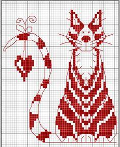 Cross Stitch - Cat & Heart