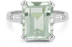 ApplesofGold.com - 5 Carat Emerald-Cut Green Amethyst Baguette Diamond Ring in 14K White Gold, $675!