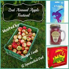 Apples, apples and more apples. Come join us in the Annual Apple Festival & Giveaway. Pin some awesome apple crafts, recipes and more. Enter to win an iTunes gift card. Apple Festival, Food Festival, Prize Giveaway, Apples To Apples Game, Itunes Gift Cards, Party In A Box, Scented Candles, Lunch Box, Favorite Recipes