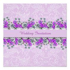 Elegant Damask Garden Lavender Wedding Invite