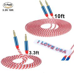 CSHope Stereo Cable / AUX Cable CSHope [ 2 Pack 10ft / 3M  3.3ft / 1M Flag Color Design ] 3.5mm Professional Auxiliary Audio Cable with Braided Nylon (2pack male to male) http://amzn.to/2rGYEAr #CSHope