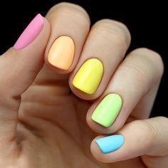 Neon Rainbow Nail Tutorial. via Lulu's. I really like the idea of having different colours.