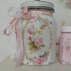 PamelaBumbaco added a photo of their purchase Shabby Chic Crafts, Shabby Chic Cottage, Manualidades Shabby Chic, Decoupage, Shabby Chic Accessories, Pink Chalk, Pink Sugar, Altered Bottles, Vintage Fashion