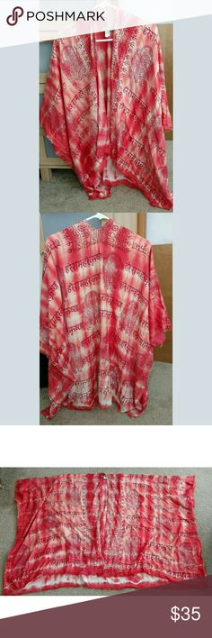 NWT Coral Indian Print Kimono Poncho Boho Tunic NWT World Market Brand One Size Coral color So so cute  *Tags Pink, Orange, Coral, Poncho, Tunic, Cardigan, Kimono, LA Hearts, Pacific Sunwear, PacSun, Tilly's, Full Tilt, Volcom, Wet Seal, Kimchi Blue, Free People World Market Tops Tunics