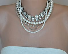 Chunky Layered Chunky Bold  Necklace with Freshwater Pearls Rhinestones brides  bridesmaids. $228.00, via Etsy.