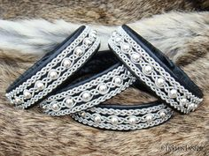 YDUN Swedish Sami Lapland Bracelet - Nordic Viking Jewelry in Silksoft Black Reindeer Leather with Sterling Silver Beads Pewter Wire Braids.