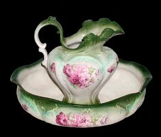 Pitcher and Wash Basin Set - Victorian - Unusual Large Oval Bowl - Green and Pink Floral on White - Near Mint Condition. $395.00, via Etsy.