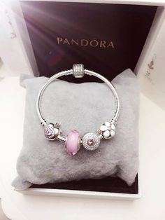 50% OFF!!! $139 Pandora Charm Bracelet Pink White. Hot Sale!!! SKU: CB01783 - PANDORA Bracelet Ideas