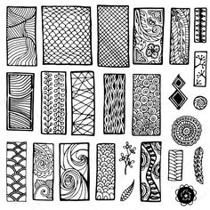 Downloaden - Collection of geometric floral doodle pattern. Geometric tribal zentangle backgrounds. Template frame design for card with set of doodle rectangles. — Stockillustratie #71701965