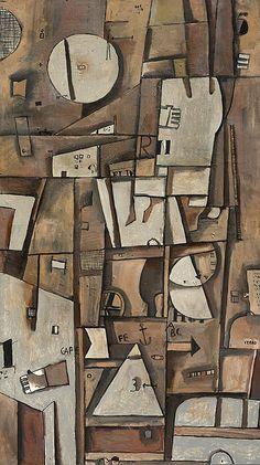 José Gurvich . Constructivo en tierras . 1962 . Óleo sobre tela . 180 x 100 cm