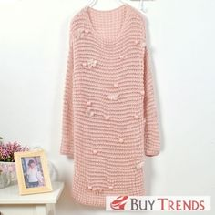 Korean Fashion Beads Embellished Warm Long Sleeve Sweater on BuyTrends.com, only price $37.38