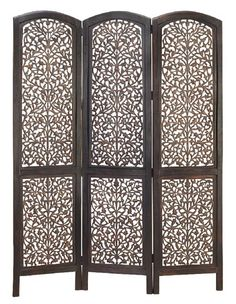 I've always had a fondness for carved wooden folding screens like this. If Koby and I have to make a simple one, we can, but this is so pretty.