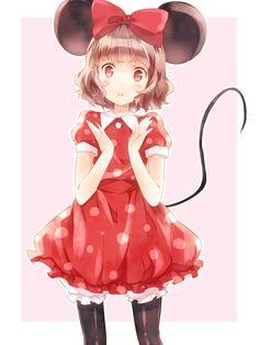 anime girl as minnie mouse