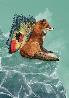 Flying Fox // A5 print by SandraDieckmann on Etsy, £8.00