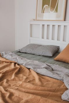 Sandalwood, Sage & Charcoal Stripe French linen is the ultimate tonal home decor., Sandalwood, Sage & Charcoal Stripe French linen is the ultimate tonal home decor moment. Cheap Home Decor, Diy Home Decor, French Home Decor, Home Decor Bedroom, 60s Bedroom, Design Bedroom, Bedroom Apartment, My New Room, House Rooms