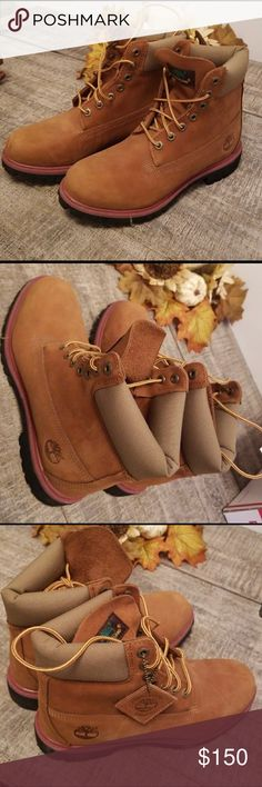 Timberland Boots BRAND NEW: Women's Timberland Boots super cute and can go with any outfit during all four seasons! They are a size 8 with an accented pink color surrounding the rim of the shoe. Primaloft 400 installed for durability and comfort. Timberland Shoes Combat & Moto Boots