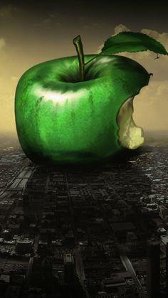 Huge Green Apple Bitten Fall City Art #iPhone #6 #plus #wallpaper